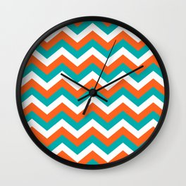 Teal & Orange Chevron Pattern Wall Clock