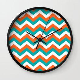 Teal & Orange Chevron Pattern Wall Clock