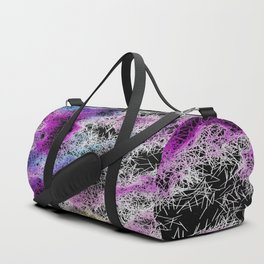 psychedelic geometric splash color abstract in pink purple blue and black Duffle Bag