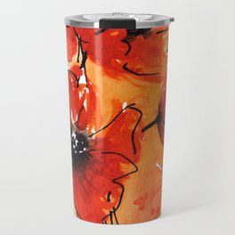 Red Poppy Flowers Watercolor Painting Travel Mug