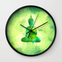 Green Watercolor Buddha Painting Wall Clock