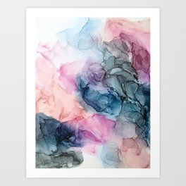 Heavenly Pastels: Original Abstract Ink Painting Art Print