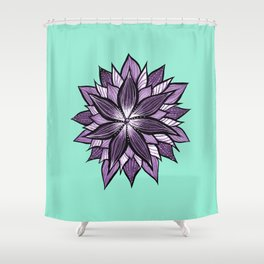 Purple Mandala Like Abstract Flower Shower Curtain