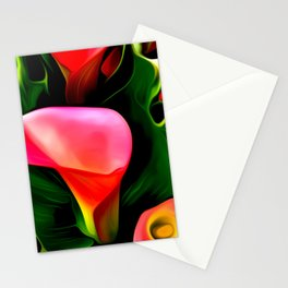 Painted Calla Lilies - Red Stationery Cards