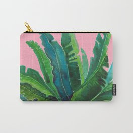 tropical cute leaves pink Carry-All Pouch