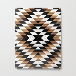 Urban Tribal Pattern 13 - Aztec - Concrete and Wood Metal Print