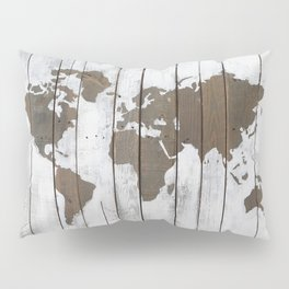 Rustic World Map Art on Upcycled Palette Wood Pillow Sham