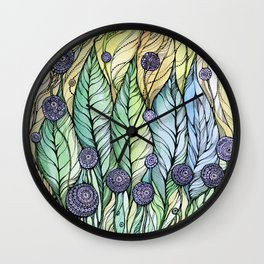 Dandelions.Hand draw  ink and pen, Watercolor, on textured paper Wall Clock
