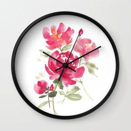 Peony Bouquet Wall Clock