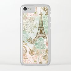 I love Paris- Vintage Shabby Chic - Eiffeltower France Flowers Floral Clear iPhone Case
