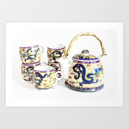 Time for tea. Delicate colors, Chinese tea set, retro look. Art Print