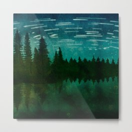 Meteor Shower at Forest Lake Metal Print