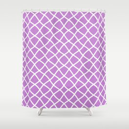 Lilac and white curved grid pattern Shower Curtain