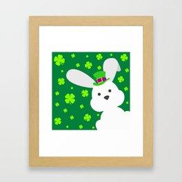 ST. PATRICK'S DAY BUNNY (abstract animals nature flowers happy irish, patricks) Framed Art Print