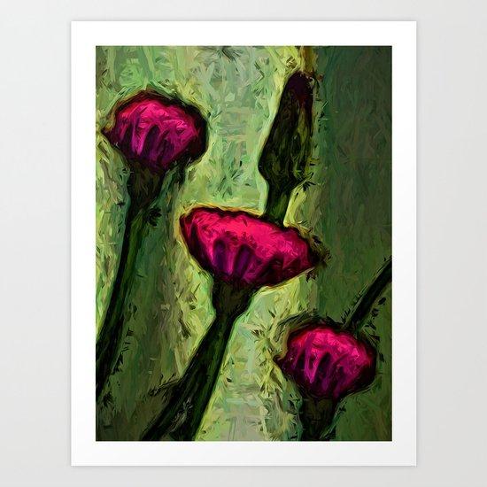 Hot Pink Dandelion Flowers with Golden Green Art Print