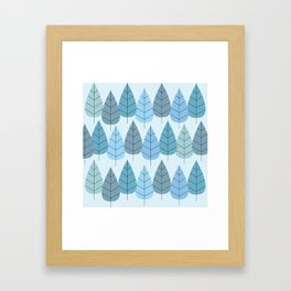 Mid century Trees in Blue Framed Art Print
