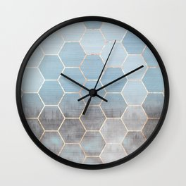 honeycomb winter forest // copper & blue Wall Clock