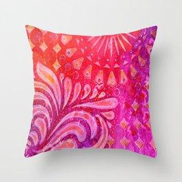 Joy in Orange and Purple Throw Pillow