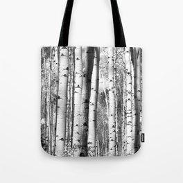 Aspens in Black + White Tote Bag