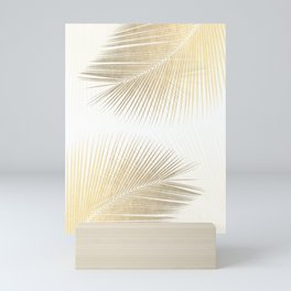 Palm leaf synchronicity - gold Mini Art Print