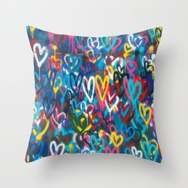 Graffiti Hearts Love (Color) Throw Pillow