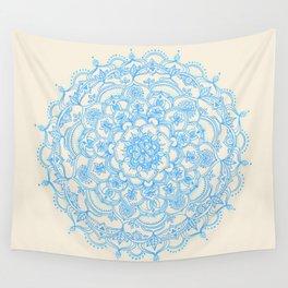 Pale Blue Pencil Pattern - hand drawn lace mandala Wall Tapestry