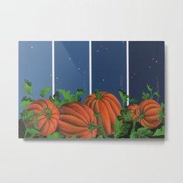 Pumpkin Patch at Night on Blues Metal Print