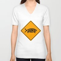 darwin V-neck T-shirts featuring Darwin Fish Road Sign by Max Headroom