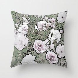 Vintage Rose Garden Collection - Stanley Park, Vancouver Throw Pillow