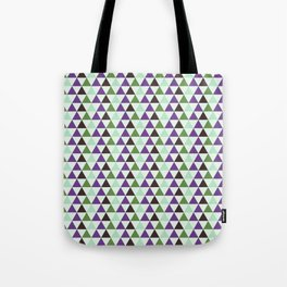 Geometrical purple green abstract triangles pattern Tote Bag