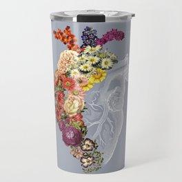 Flower Heart Spring Light Grey Travel Mug