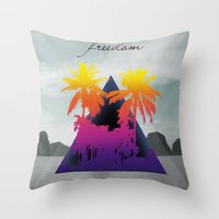 freedom Throw Pillows featuring freedom by mark ashkenazi