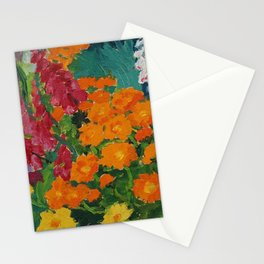 Floral Garden - Summer Marigolds & Bellflowers Still Life Painting by Emil Nolde Stationery Cards