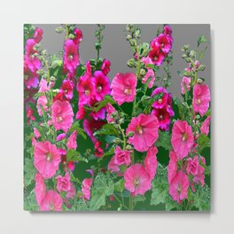 ENGLISH COTTAGE  PINK HOLLYHOCKS  GREEN & GREY GARDEN Metal Print