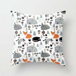 Woodland Nap Time Throw Pillow