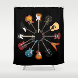 Guitar Circle Shower Curtain