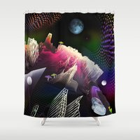 hologram Shower Curtains featuring Moonlight Drive by Antonio Jader