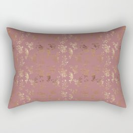 Pastel pink faux gold elegant wild flowers pattern Rectangular Pillow
