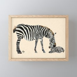 Plains Zebras Watercolor Framed Mini Art Print