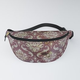 Vintage Antique Eggplant-Colored Wallpaper Pattern Fanny Pack