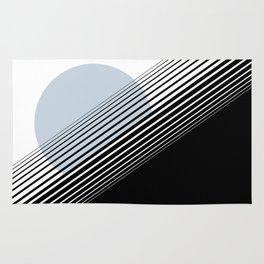 Rising Sun Minimal Japanese Abstract White Black Blue Rug