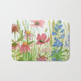 Watercolor Garden Flower Poppies Lupine Coneflower Wildflower Bath Mat