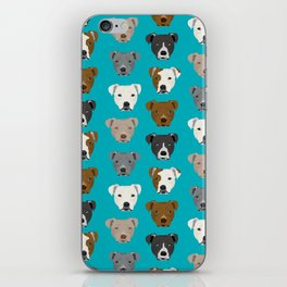 Pitbull faces dog art dog pattern pitbulls cute gifts for rescue dog owners iPhone Skin
