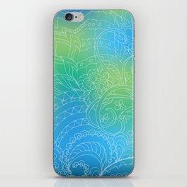 transparent white zen pattern blue gradient iPhone Skin