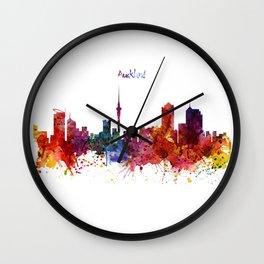 Auckland Watercolor Skyline Wall Clock