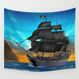 Pirate Ship at Sunset Wall Tapestry