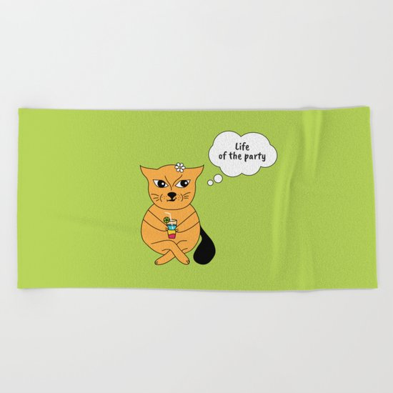 Beatrice. The cat that thinks... Party Beach Towel