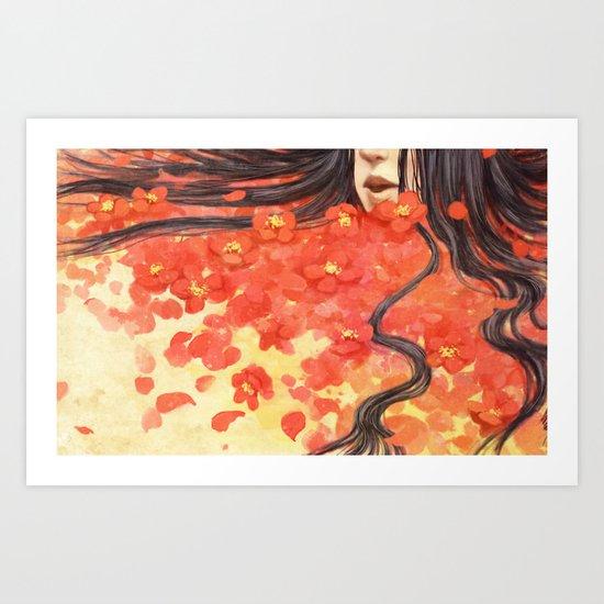 Beneath the Red Flowers Art Print