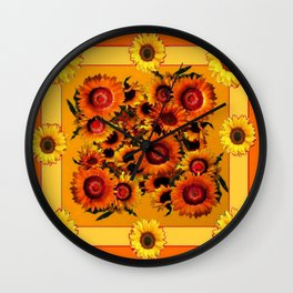 ORANGE YELLOW SUNFLOWERS ART Wall Clock