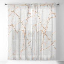 stylish minimalist trendy chic rose gold white marble Sheer Curtain